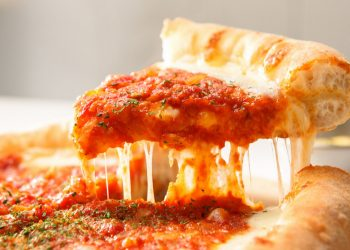 best chicago deep dish pizza slice cheesy