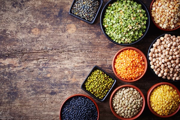 high-protein vegetarian meals raw various lentils