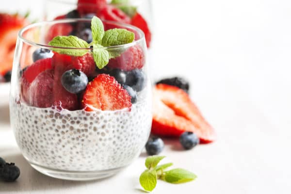 high protein vegetarian meals chia seed berry pudding