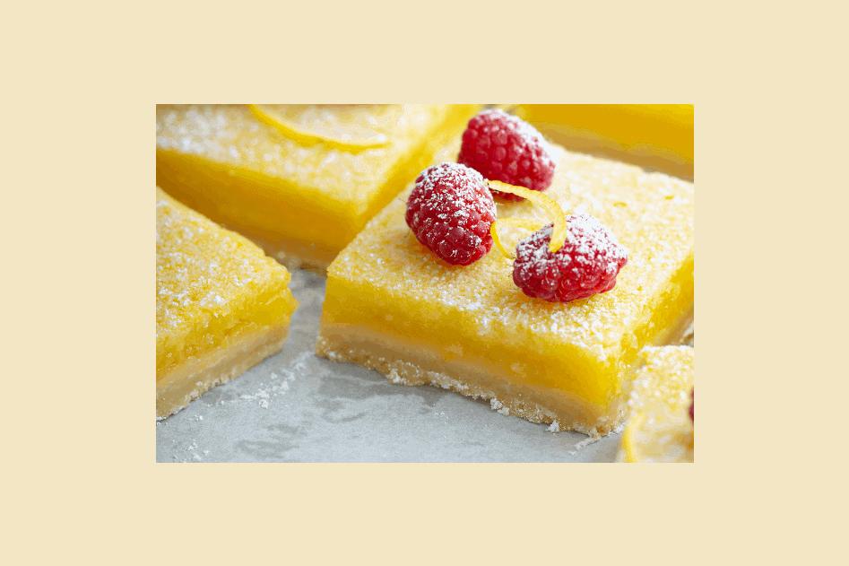 lemon bars with raspberry